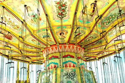 Surreal Fantasy Carnival Festival Fair Yellow Ferris Wheel Swing Ride  Art Print by Kathy Fornal
