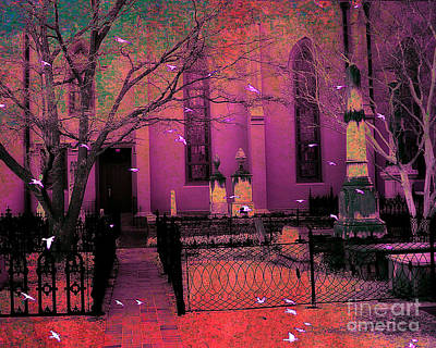 Fantasy Surreal Spooky Photograph - Surreal Fantasy Civil War Cemetery Graveyard by Kathy Fornal