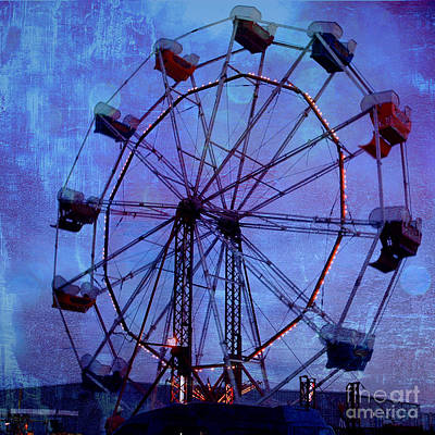 Surreal Fantasy Dark Blue Ferris Wheel Night Sky Print by Kathy Fornal