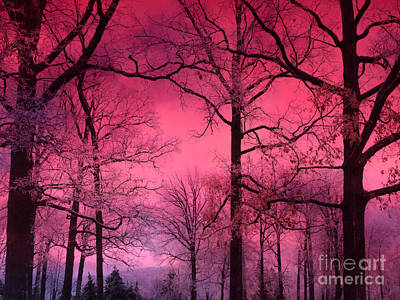 Surreal Nature Photograph - Surreal Fantasy Dark Pink Forest Woodlands Trees With Dark Pink Haunting Sky - Fantasy Pink Nature  by Kathy Fornal
