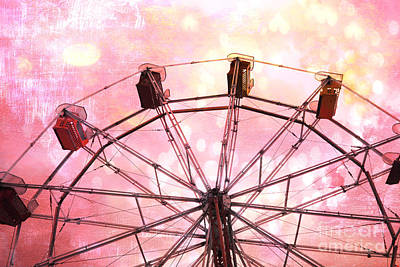 Surreal Pink Carnival Photograph - Dreamy Pink Yellow Carnival Ferris Wheel Ride - Carnival Ferris Wheel Kid's Room Decor by Kathy Fornal