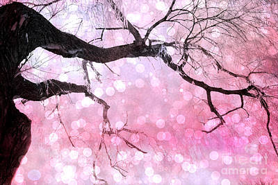 Surreal Fantasy Fairytale Pink And Black Nature Haunting Tree Limbs - Pink Bokeh Circles Art Print by Kathy Fornal