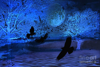 Haunting Photograph - Surreal Fantasy Gothic Blue Moon With Ravens Nature by Kathy Fornal