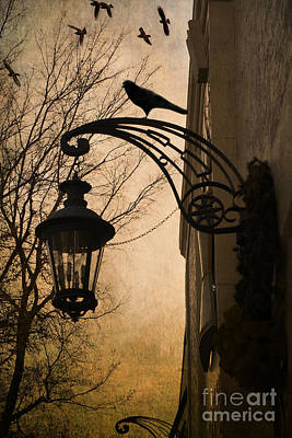 Photograph - Surreal Fantasy Gothic Lantern With Ravens by Kathy Fornal