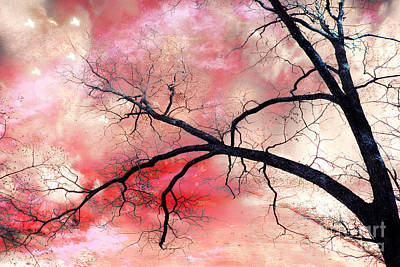 Surreal Fantasy Gothic Nature Tree Sky Landscape - Fantasy Nature Art Print by Kathy Fornal