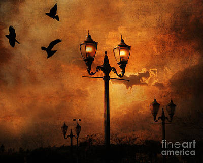 Ravens And Crows Photograph - Surreal Fantasy Gothic Night Lanterns Ravens  by Kathy Fornal
