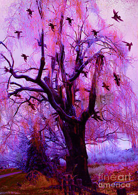 Surreal Fantasy Gothic Purple Pink Nature With Flying Ravens Art Print by Kathy Fornal