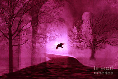 Surreal Fantasy Gothic Raven Crow Nature Art Print by Kathy Fornal