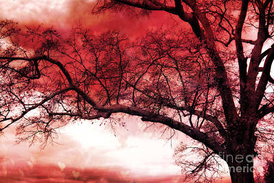 Surreal Fantasy Gothic Red Tree Landscape Art Print by Kathy Fornal