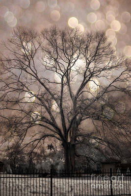Surreal Fantasy Gothic South Carolina Sepia Oak Trees And Fantasy Bokeh Circles Art Print by Kathy Fornal