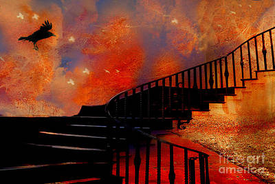 Haunting Photograph - Surreal Fantasy Gothic Black Staircase With Flying Ravens - Surreal Orange Black Fantasy Art by Kathy Fornal