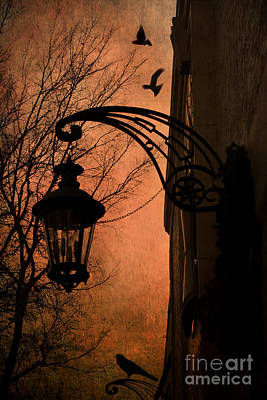 Ravens And Crows Photograph - Surreal Fantasy Gothic Street Lantern With Crows And Ravens by Kathy Fornal