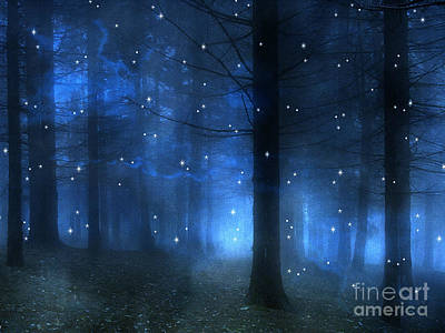 Surreal Fantasy Haunting Blue Sparkling Woodlands Forest Trees With Stars - Starlit Fantasy Nature Art Print by Kathy Fornal