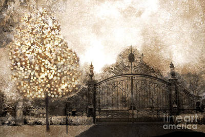 Surreal Dreamy Nature Photograph - Surreal Fantasy Haunting Gate With Sparkling Tree by Kathy Fornal