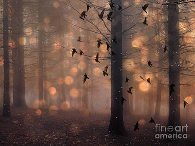 Surreal Fantasy Fairytale Haunting Woodlands Brown Surreal Nature Trees Birds Flying Art Print by Kathy Fornal