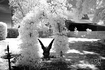 Fantasy Surreal Spooky Photograph - Surreal Black And White Infrared Gargoyle In Park - Gothic Gargoyle Infrared Nature Landscape by Kathy Fornal