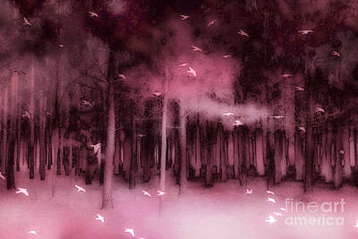 Dark Pink Photograph - Surreal Fantasy Nature Forest Trees Woodlands Ravens Birds  by Kathy Fornal