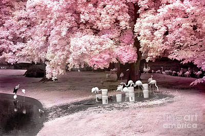 Surreal Fantasy Pink Flamingo Pond Infrared Nature Art Print by Kathy Fornal