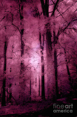Surreal Nature Photograph - Surreal Fantasy Pink Forest Woodlands by Kathy Fornal