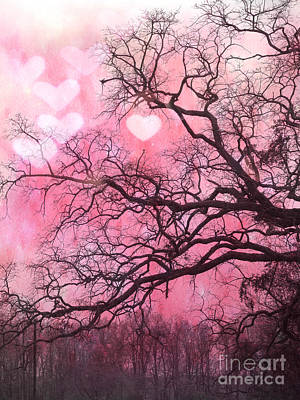 Surreal Fantasy Pink Hearts Trees And Nature - Dreamy Pink Hearts In Trees  Art Print by Kathy Fornal
