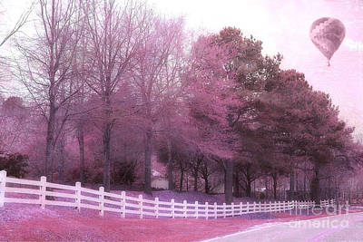 Fantasy Tree Art Photograph - Surreal Fantasy Pink Nature Country Road With Hot Air Balloon by Kathy Fornal