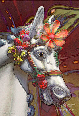 Photograph - surreal fantasy pony - Flower Power by Sharon Hudson