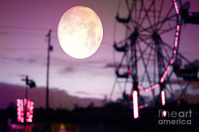 Festival Art Photograph - Surreal Fantasy Purple Night Ferris Wheel Full Moon  by Kathy Fornal