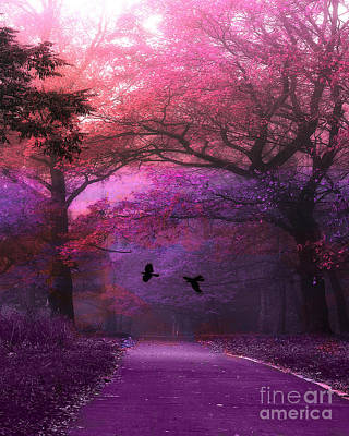 Surreal Nature Photograph - Surreal Fantasy Purple Pink Autumn Fall Nature Woodlands - Purple Woodlands With Flying Ravens by Kathy Fornal