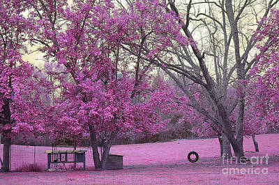 Surreal Fantasy South Carolina Pink Fall Landscape With Swing Art Print by Kathy Fornal