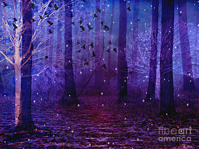Surreal Nature Photograph - Surreal Fantasy Starry Night Purple Woodlands - Purple Blue Fantasy Nature Fairy Lights  by Kathy Fornal