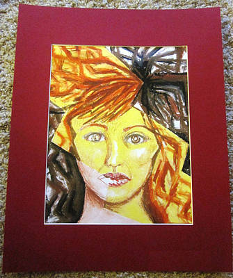 Matting Drawing - Surreal Female Portrait And Lightning Bolt by Ann Warder