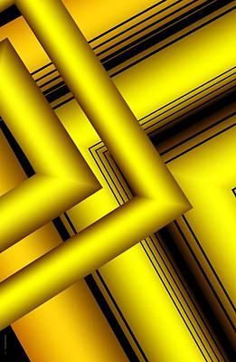 Surreal Geometry In Yellow Print by Mario Perez