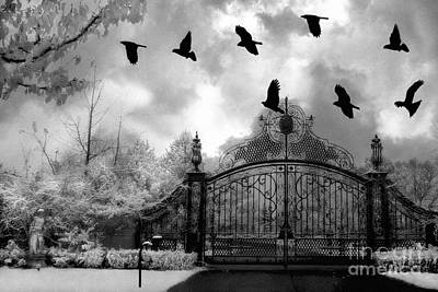 Surreal Gothic Black And White Gate With Flying Ravens  Art Print by Kathy Fornal