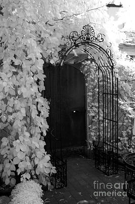 Surreal Gothic Black And White Infrared Doorway Print by Kathy Fornal
