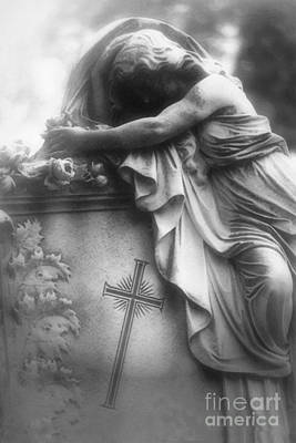Spiritual Angel Art Photograph - Surreal Gothic Cemetery Angel Mourner Draped Over Coffin With Cross- Haunting Cemetery Sculpture Art by Kathy Fornal
