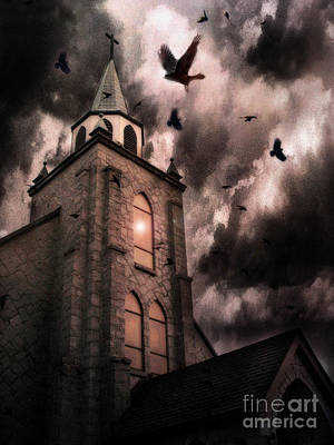Nature Scene Photograph - Surreal Gothic Church Storm Clouds Haunting Flying Ravens - Gothic Church by Kathy Fornal