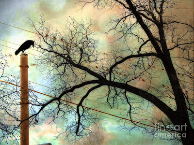 Surreal Gothic Crow Ravens Birds Fantasy Nature  Art Print by Kathy Fornal