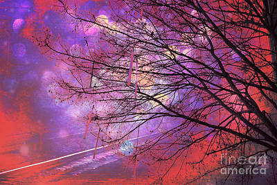 Digital Paint Photograph - Surreal Gothic Fantasy Abstract Bokeh Tree Nature - Abstract Black Purple Orange Trees by Kathy Fornal