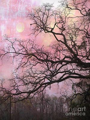 Surreal Gothic Fantasy Abstract Pink Nature - Fantasy Surreal Trees Nature Photograph Art Print by Kathy Fornal