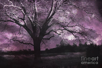 Surreal Gothic Fantasy Purple Tree Landscape - Haunting Purple Lavender Gothic Infrared Tree Art Print