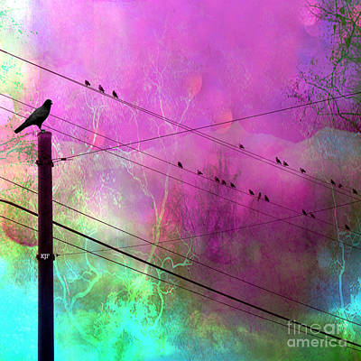 Surreal Gothic Fantasy Raven Crows On Powerlines Art Print by Kathy Fornal