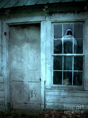 Haunted Houses Photograph - Surreal Gothic Grim Reaper In Window - Spooky Haunted House Reflection In Window by Kathy Fornal