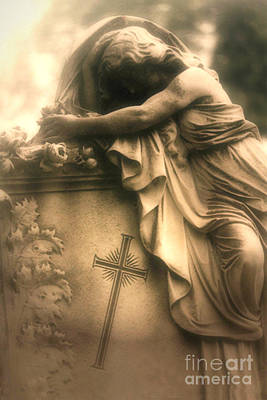 Gothic Art Photograph - Surreal Gothic Haunting Cemetery Mourner On Grave With Cross And Roses Coffin by Kathy Fornal