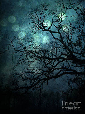 Photograph - Surreal Gothic Haunting Dark Blue Teal Trees Nature Forest Woodlands Night Landscape - Full Moon by Kathy Fornal