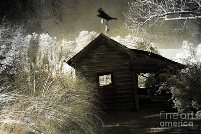 Photograph - Surreal Gothic Infrared Old Building With Raven by Kathy Fornal