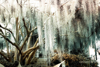 Savannah Fine Art . Savannah Old Trees Photograph - Surreal Gothic Savannah House Spanish Moss Hanging Trees - Savannah Mint Green Moss Trees by Kathy Fornal