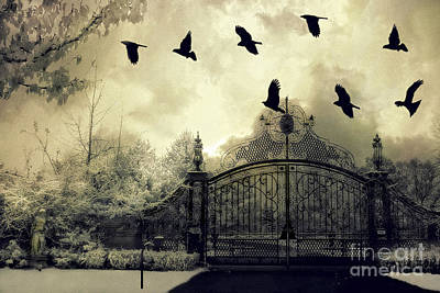 Crows Photograph - Surreal Gothic Spooky Haunting Gate With Ravens by Kathy Fornal