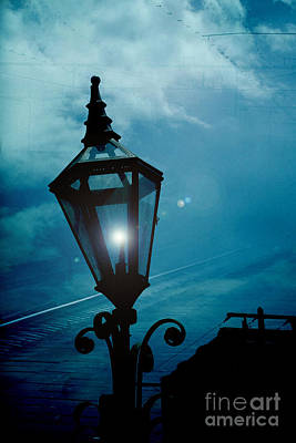 Photograph - Surreal Haunting Night Lantern Overlooking Railroad Tracks by Kathy Fornal
