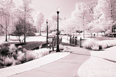 Infared Photograph - Surreal Infrared Dreamy Pink And White Park Tree Nature Path Landscape by Kathy Fornal
