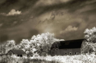 Vintage Barns Photograph - Surreal Infrared Sepia Rural Barn Landscape by Kathy Fornal